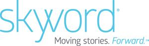 "The Skyword logo with the tagline, ""Moving stories. Forward. (TM)"""