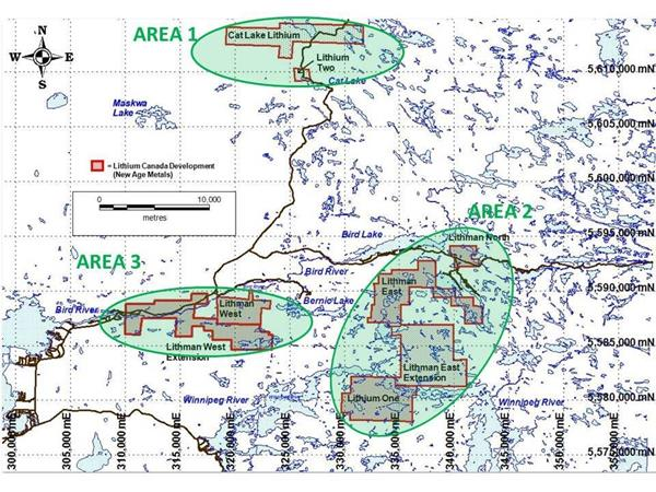 Figure 1 – Project areas under new Exploration Agreement with the Sagkeeng Nation