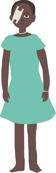 Illustration of a little girl who has just had sight-restoring cataract surgery from Seva Canada's Equal Right to Sight campaign.