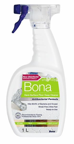 Bona Antibacterial Hard-Surface Floor Deep Cleaner now available at UK retailers nationwide including Lakeland, Robert Dyas, Argos and B&Q. Bona Antibacterial Hard-Surface Floor Deep Cleaner is a unique formulation that provides a deep clean for sealed, hard-surface floors including stone, tile, laminate, vinyl and LVT.
