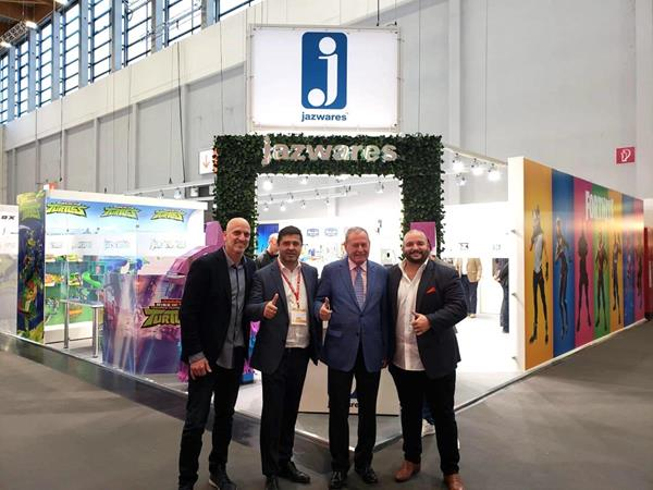 Pictured (L to R): Matt Cohen, Jazwares Director of International Sales, Hector Rubini Chief Executive & Julio Rubini Chairman of Toy Partner, and Arthur Ferreira, VP of Jazwares International Sales