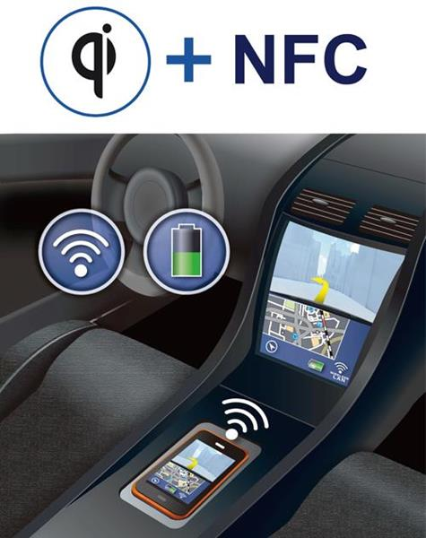 ROHM's solution offers wireless charging as well as more detailed communication between the car and the device through NFC.
