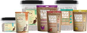 True Raw Choice & Pawzzie all-natural dehydrated pet treats and chews for dogs and cats.