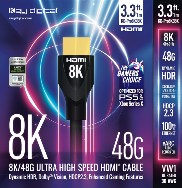8K Ultra High Speed HDMI Cable from Key Digital