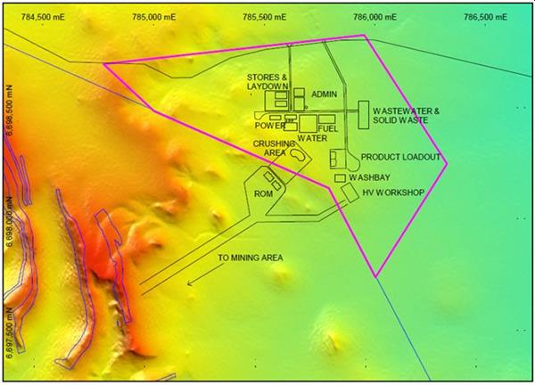 Figure: Application area adjacent to Snark deposit at Ularring in Western Australia showing planned layout of facilities