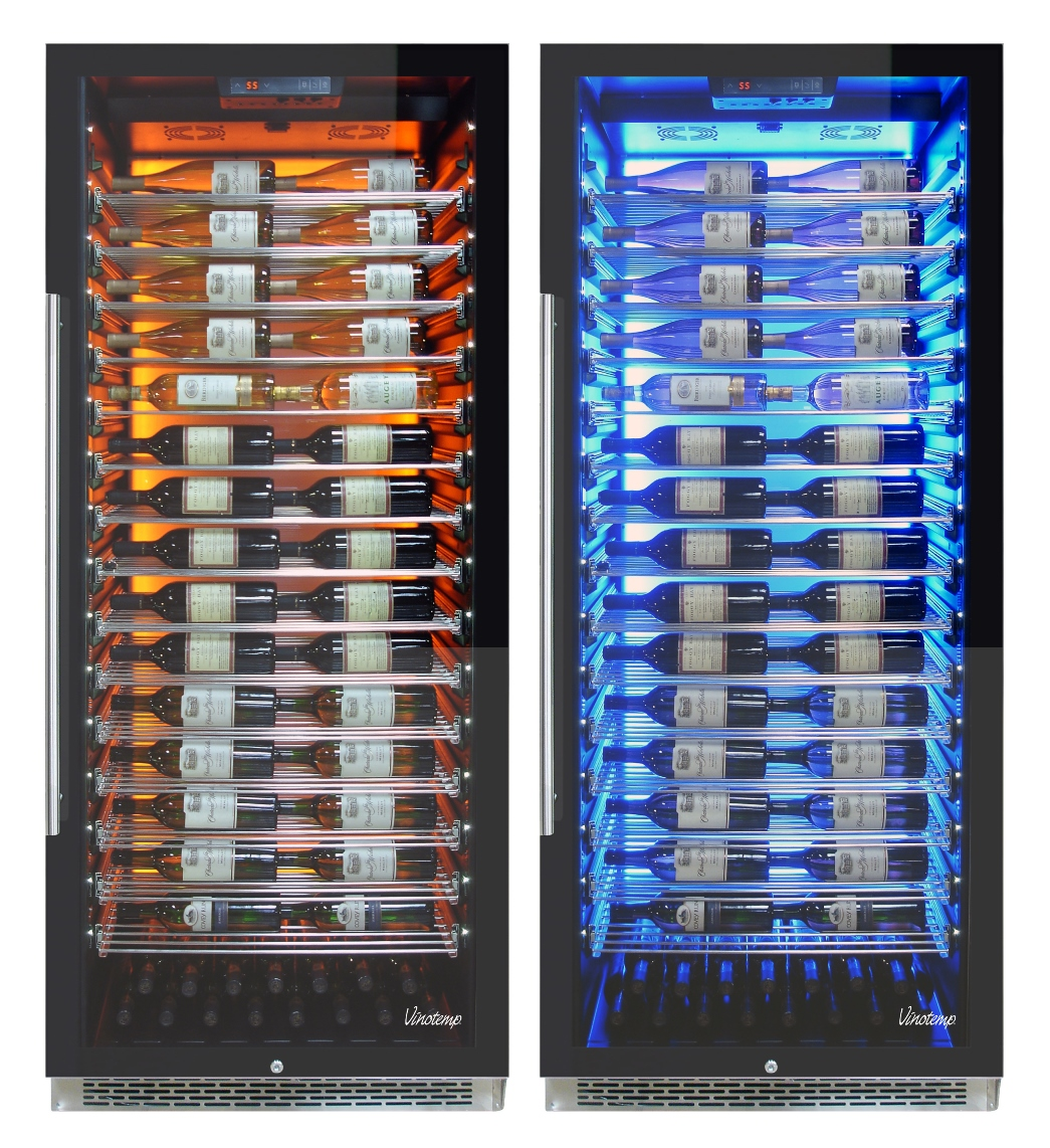 the new vinotemp private reserve series 300bottle commercial wine cooler shown with two of three interior lighting options amber left and vinotemp - Vinotemp