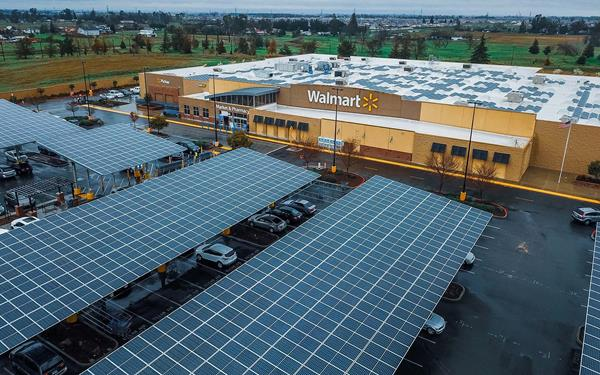 Rooftop and carport systems at Walmart store in Sacramento, California