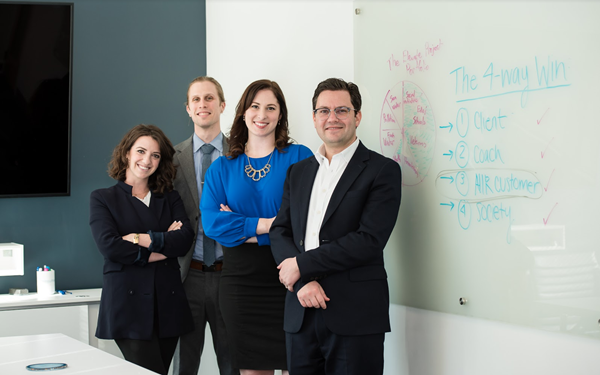 Members of The Elevate Project team at AIIR Headquarters in Philadelphia. From left: Dr. Claire Rodgers, Director Kyle Horne, Robyn Garrett, and AIIR CEO Dr. Jonathan Kirschner.