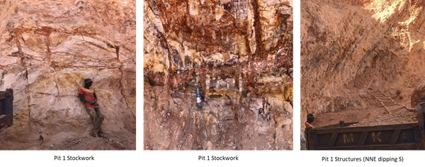 Figure 6: Structures and Mineralisation Observed in Pit No 1