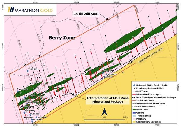 Location of Berry Zone exploration drill hole collars VL-20-856 to VL-20-875.