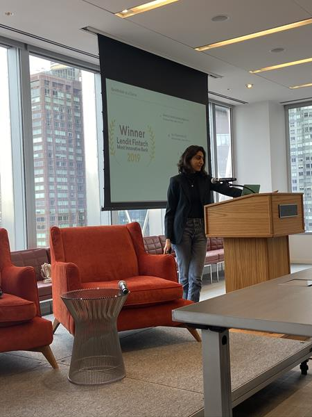 Luvleen Sidhu, Co-Founder, President and Chief Strategy Officer at BankMobile, presenting the afternoon keynote at the Fearless in Fintech conference in New York on December 11, 2019