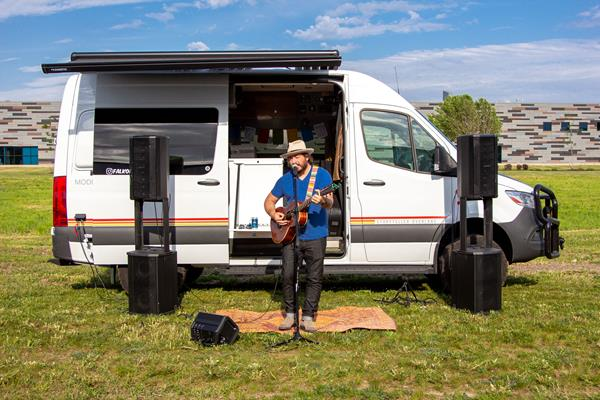 After hearing their story, Jack Johnson, CTO of Volta Power Systems, invited Jason and Emma to perform at the Volta Power Systems headquarters, with all audio equipment powered entirely off the Volta system in the Walsmiths' van.