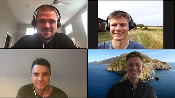 Cobalt founders pictured clockwise from top left: Esben Friis-Jensen, Jacob Hansen, Christian Hansen, and Jakob Storm