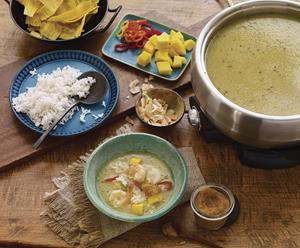 Caribbean Hot-Pot Broth with Papaya Pica Sauce