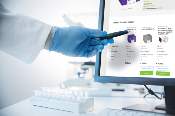 A Desktop Screen where multiple research kit packages are compared on ZAGENO#S online research material marketplace