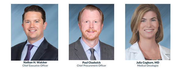 Chief Executive Officer Nathan H. Walcker; Chief Procurement Officer Paul Chadwick; Medical Oncologist Julia Cogburn, MD