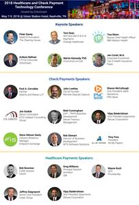 Speakers for the 2018 Healthcare and Check Payment Technology Conference