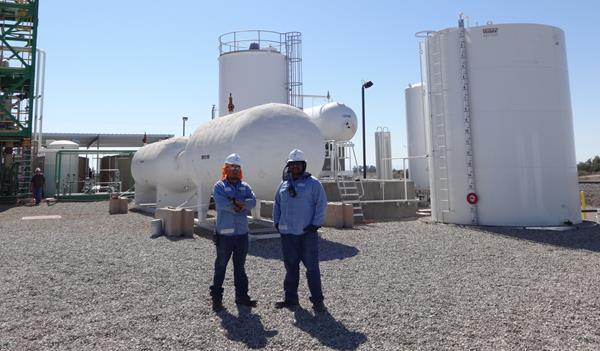 Plant workers at Oberon Fuels DME production facility