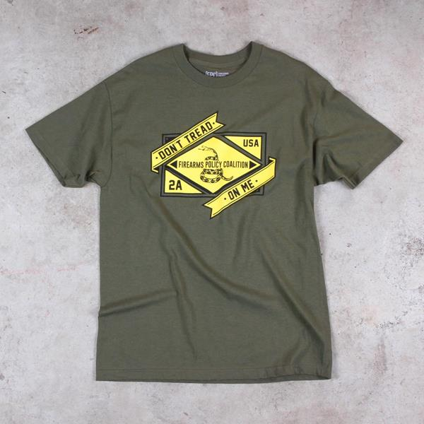 """An 8th grade middle school student in Reno, Nevada was disciplined for wearing this FPC tee shirt to school. The school district and school banned this tees shirt and other pro-gun free speech days before participating in a walkout to promote gun control. Image: FPC """"Don't Tread on Me"""" tee shirt. (Copyright Firearms Policy Coalition, Inc. All rights reserved.)"""