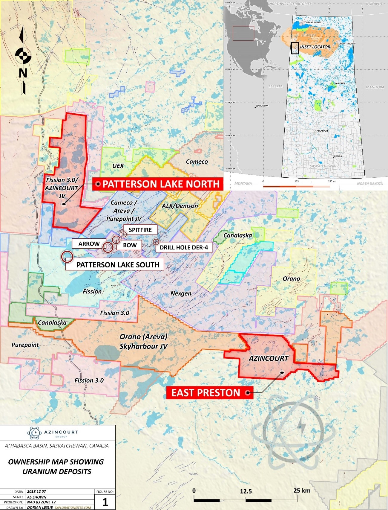 Figure 3: Project Location & Surrounding Projects – Western Athabasca Basin, Saskatchewan, Canada