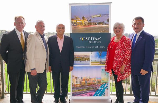 First Team and Sea Coast Exclusive Properties Merger. (R to L) Rich Casto, Mike Evans, Cameron Merage, Anita Quillman, Loren Sanders