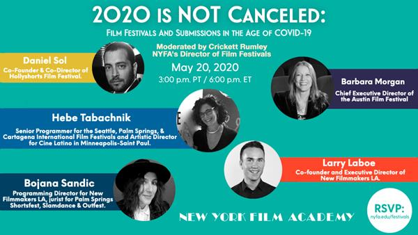 Official banner for '2020 is Not Canceled: Film Festivals and Submissions in the Age of COVID-19'