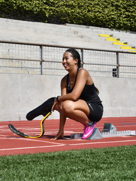 Ella Rodriguez (17) of Gilroy, CA is a single below-the-knee amputee who competes on her high school track and field team. She is one of 100 student-athletes registered in the Challenged Athletes Foundation's virtual High School Adaptive Sports Program.