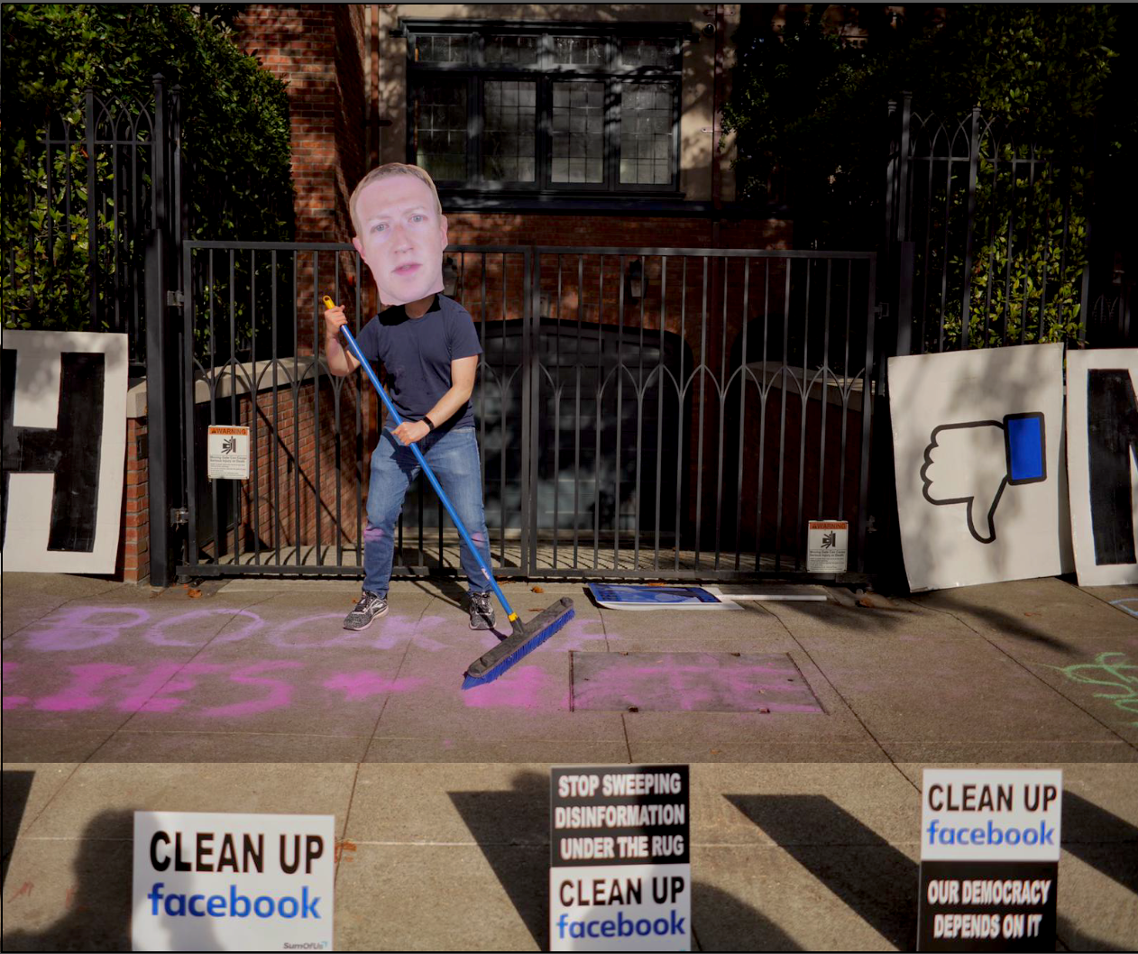 UntitledProtest Outside Mark Zuckerberg's Home to Demand Facebook Clean Up Its Act: SumOfUs Demands Platform Stop Destroying Democracy with Disinformation Spread