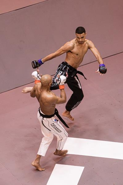 London's Jerome Brown fights Abdalla Ibrahim of New York in the Karate Combat Fighting Pit. The new full-contact promotion now airs on FreeSports in the UK and Ireland every Friday night at 11 p.m.