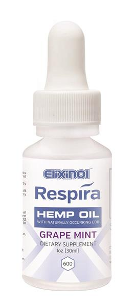 Respira CBD oil for oral, topical or vape use by Elixinol. 600mg, Grape Flavor.