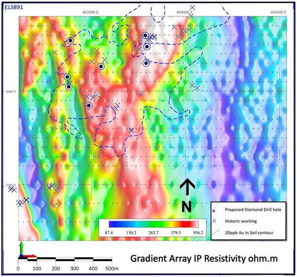 Fig-3–Gradient-Array-IP-Resistivity-with-gold-in-soil-contour-and-8-proposed-drill-hole-locations