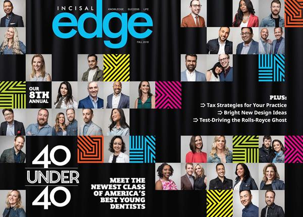 Published by Benco Dental since 1997, Incisal Edge, the leading lifestyle magazine for dental professionals nationwide, celebrates dentists' achievements both inside the operatory and during their hard-earned downtime. Members of the 2018 40 Under 40 are shown on the cover of the 2018 fall edition, photographed at the Kimpton Hotel Eventi, 851 Avenue of the Americas, New York, NY 10001. (Style Director Joseph DeAcetis/ Photography Sasha Maslov)