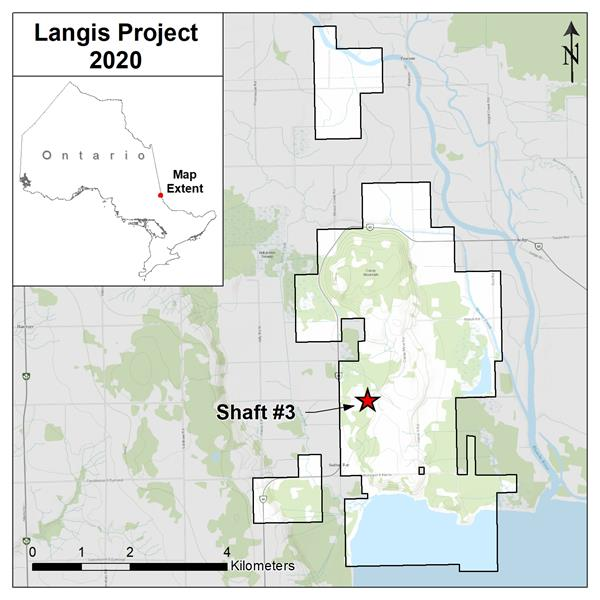 Figure 1 Oct 1 2020 Langis Project Location Map