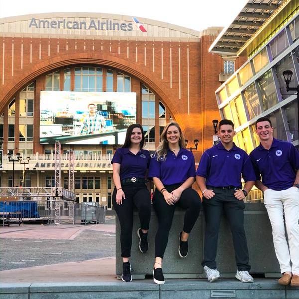 Students (left to right) Grace George, Sylvanna Schiefele, Chris Apecechea and Parker Murphy learned what it takes to prepare the Mavericks for their home season opener against the Washington Wizards at the American Airlines Center in Dallas.