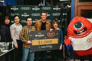 Kretschmar and new retail partner Jewel-Osco team up with country music star Easton Corbin to make a donation to the local Illinois Make-A-Wish chapter