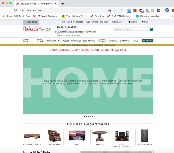 Badcock.com home page