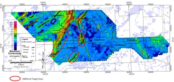 Figure 1: Target corridors at the East Preston Uranium Project, Western Athabasca Basin Saskatchewan