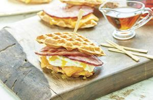 Simple Ham and Waffle Breakfast Sandwiches