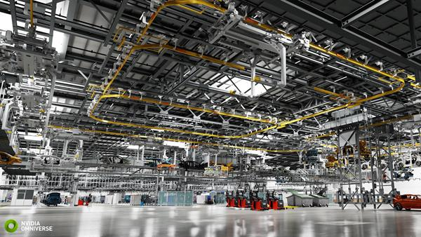 BMW AI Factory of the Future Rendered in NVIDIA Omniverse