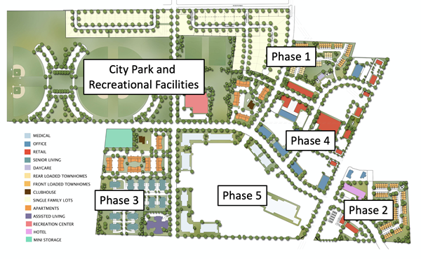 Site plan and phases of Ephraim Crossing. PC: http://ephraimcrossing.com/vision/