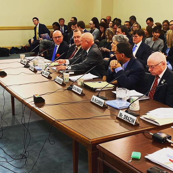 Far left: Animal Wellness Action executive director, Marty Irby, testifies at a U.S. House Committee hearing on the Horseracing Integrity and Safety (HISA) Act in January of 2020. Left to right: Marty Irby, Ed Martin, BIll Lear, Dr. Kathleen Anderson, Joe DeFrancis, Chris McCarron  Photo credit: Animal Wellness Action