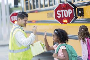 Bus driver with girl
