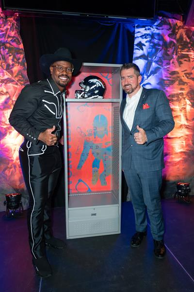 Von Miller, All Pro Linebacker for the Denver Broncos and Founder of Von's Vision and Joshua Gwinn, CEO of Hero Practice Services unveil Von's Locker at the 2019 Western Roundup Gala.