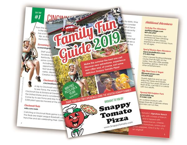 Snappy Tomato Pizza Family Fun Guide 2019 - A 16-page Family Focused Day Trip Travel Guide including Knoxville, Tennessee; Rabbit Hash, Kentucky; Cincinnati, Ohio; Columbus, Indiana; and Adams County, Ohio. #SnappySummer - www.SnappyTomato.com