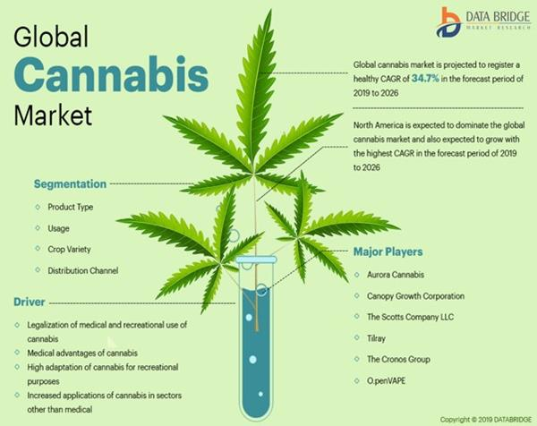 Global Cannabis Market is expected to reach USD 186,613.15 million by 2026