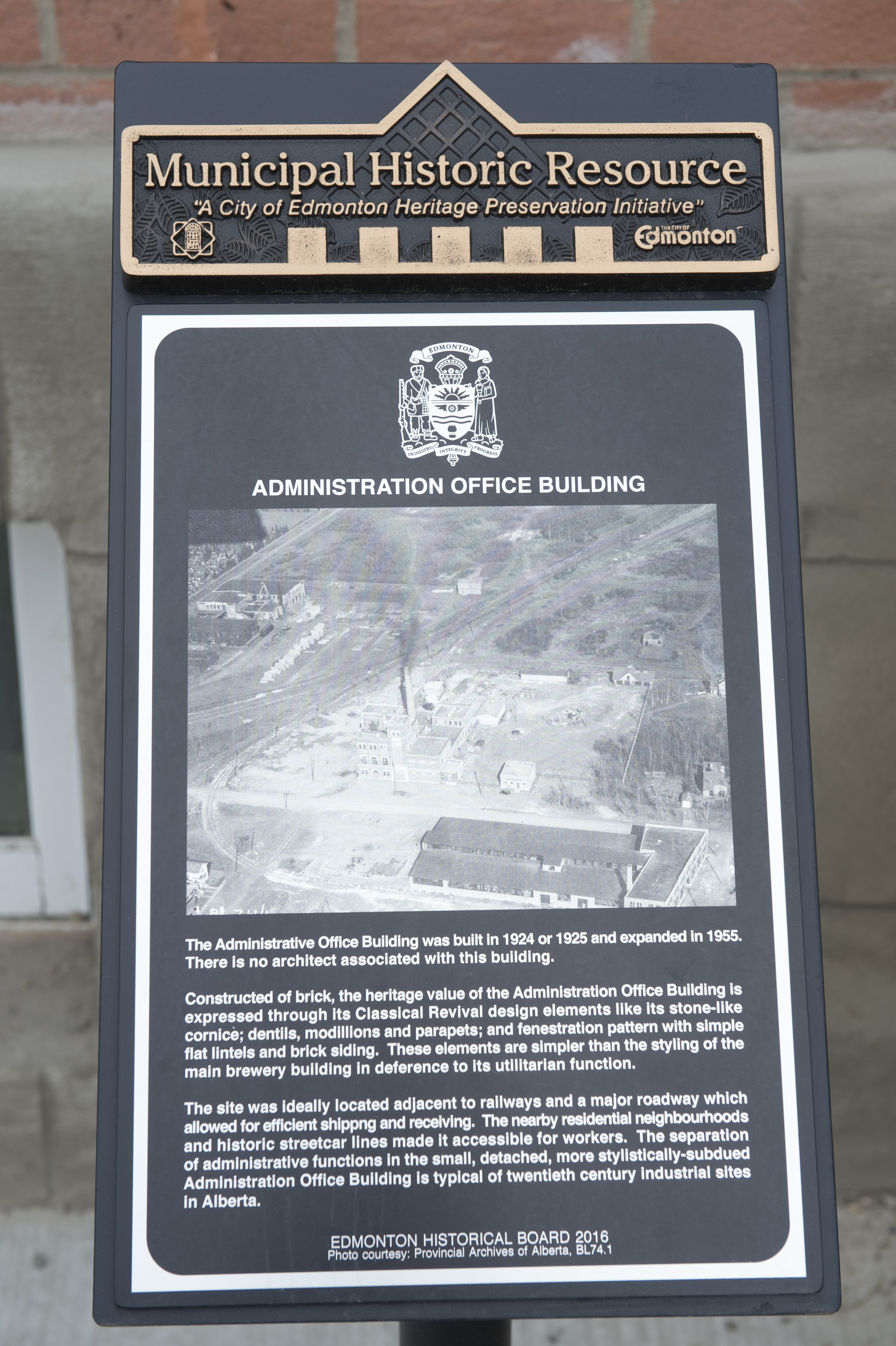 Heritage Plaque at Edmonton Brewery District