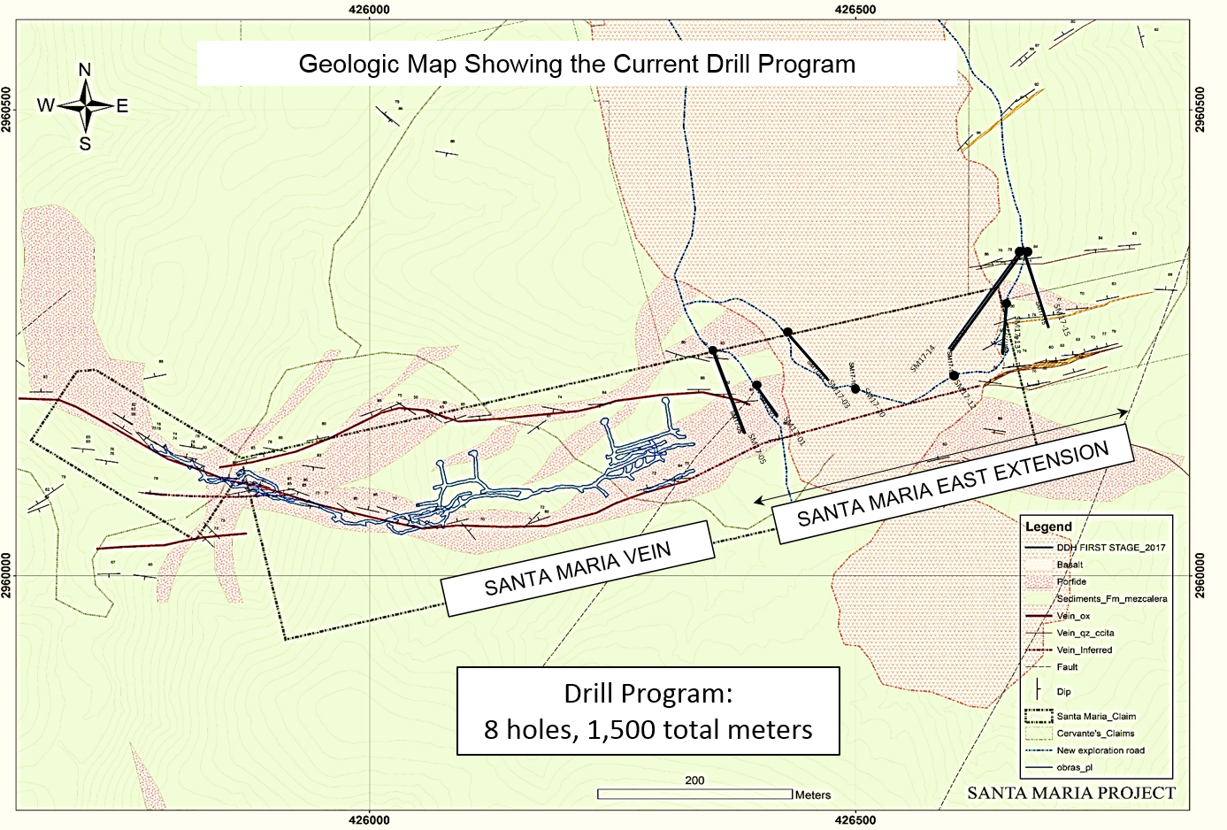 Geologic Map Showing the Current Drill Program