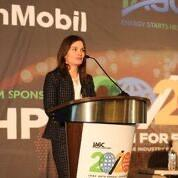 """IAGC President, Nikki Martin addresses nearly 300 attendees at the IAGC 49th Annual Conference, """"20/20 Vision for Energy:  Shaping the G&E Industry for the New Decade"""" (photo:  Tyler Fewox)"""