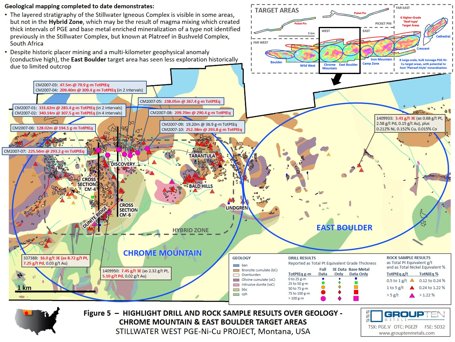 Figure 5  –  Highlight Drill and Rock Sample Results Over Geology - Chrome Mountain & East Boulder Target Areas