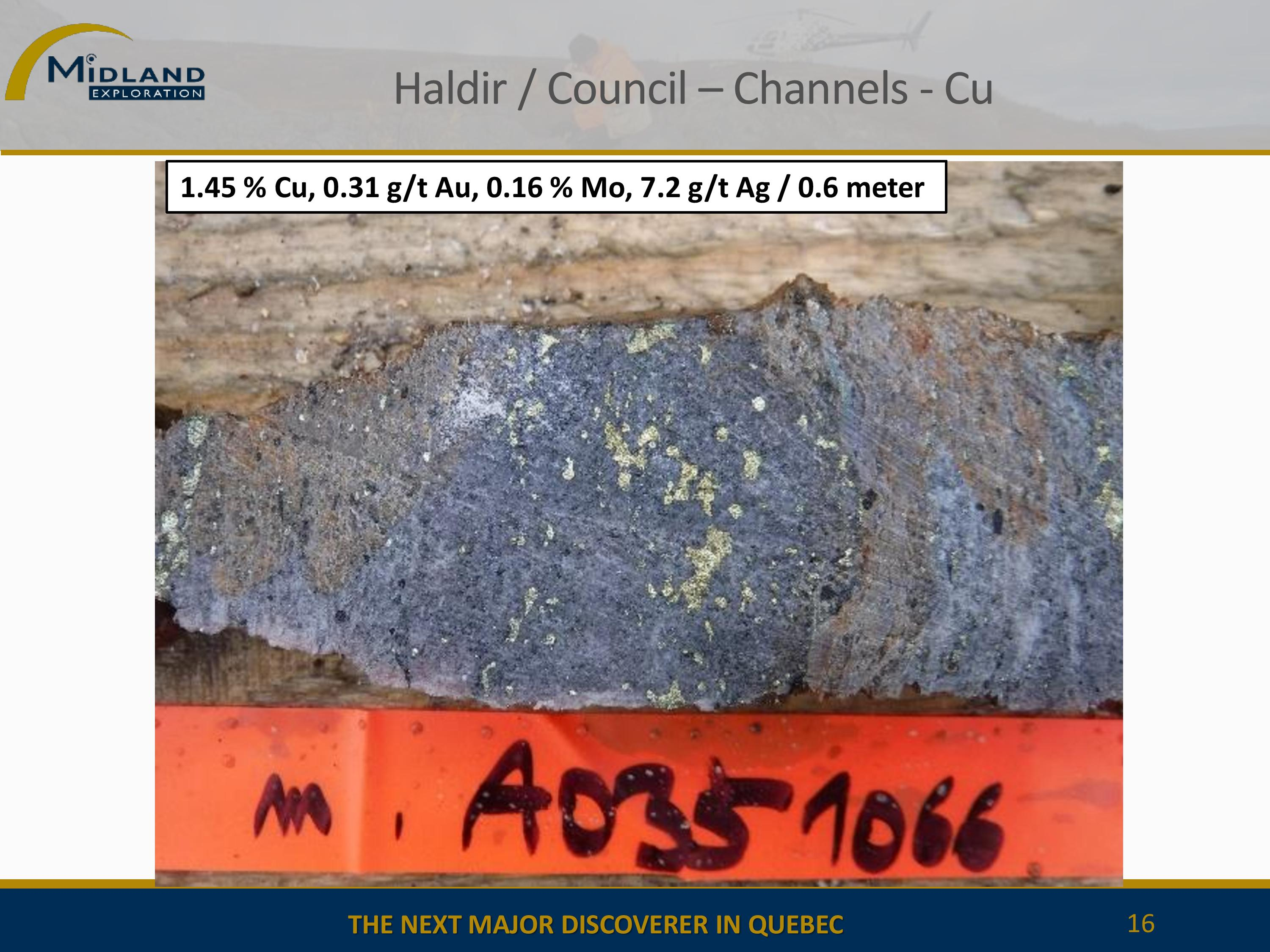 Copper mineralization at Haldir